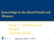 SUM11_Week 2b - Knowledge in the Head&World, Memory
