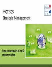 Topic 10 Strategy Control and Implementation