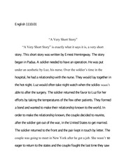 english 111001 primary source summary essay 2 english 111001 a very short story a very short story is exactly what it says it is a very short story
