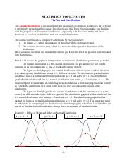 Topic Note 3 (Normal Distribution)