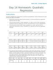 Homework 14 - Quadratic Regression - Math 110X College