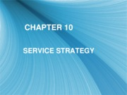 Chapter 10 - Service Strategy