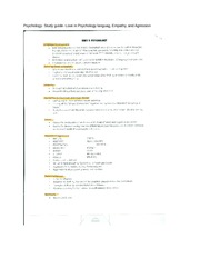 Psychology- Study guide- Love in Psychology languag, Empathy, and Agression