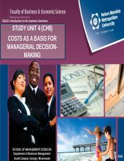 EB122 SU4 - COSTS AS A BASIS FOR MANAGERIAL DECISION-MAKING - STUDENT 2016