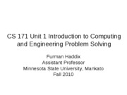 CS 171 Unit 1 Introduction to Computing and Engineering Problem Solving