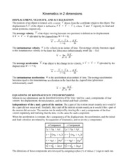 Kinematics in 2 Dimensions (Notes 4&5)