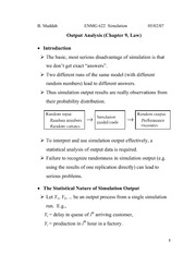 Lecture 8 on  Output Analysis (1, Chapter 9 Law)