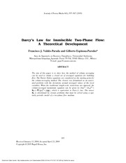 Darcy's Law for Immiscible Two-Phase Flow: A Theoretical Development