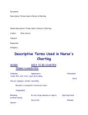Descriptive Terms Used in N