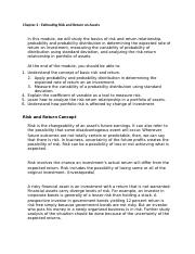 Chapter 2 - Estimating Risk and Return on Assets.docx
