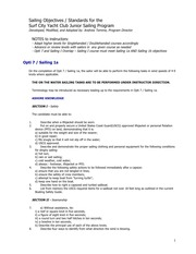 SCYC Sailing Objectives level 1-3