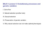 BILD3 Lec 05 Evolutionary processes and Genetic Variation