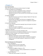 Chapter 2 Notes Principles of Management
