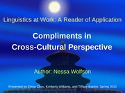 Compliments in Cross-Cultural Perspective