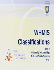 WHMIS_JAN 2016 - Part 2_Hazard Classifications and Pictograms.ppt