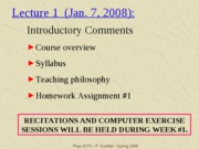 Phys 0175 - Lecture 1