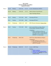 EPC II Schedule-at-a-Glance