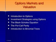 Options Markets and Valuation