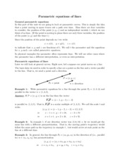 Parametric equations of lines study guide