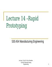 Lecture 20-15 Fall Rapid Prototyping-BB