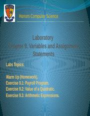 Lab Experience. Chapter 9A Variables and Assignment Statements (1)
