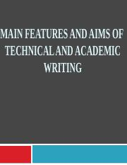2. Aims -Main Features of Technical Writing