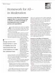 Homework For All- In Moderation