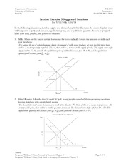 Introduction to Econ: Supply and Demand Section Solutions