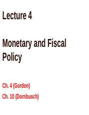 Lecture 4 Monetary and Fiscal Policy