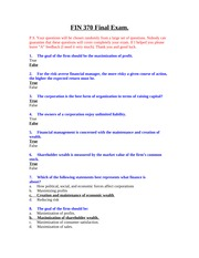 FIN 370 Final Exam (4th Set) 33 Questions with ANSWERS
