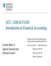 Lecture Notes - Week 6 - Special Journals  Internal Control