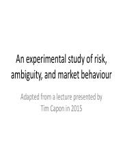 11 - Risk, Ambiguity, and Market Behaviour
