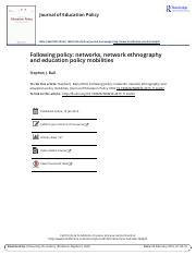 Following policy- networks, network ethnography and education policy mobilities