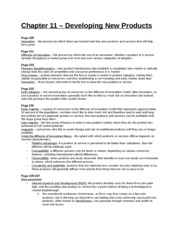 Study Guide - Chapter 11 - Developing New Products