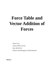 Force Table and Vector Addition of Forces