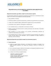 REQUISITOS DOCUMENTOS SOPORTES PARA IMPORTAR A COLOMBIA.doc