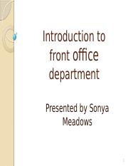 frontofficepresentation - Introduction to front office department