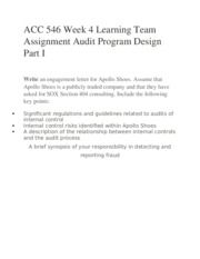 ACC 546 Week 4 Learning Team Assignment Audit Program Design Part I