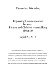 Theoretical Workshop Improving Communication between  Parents and Children when talking about sex