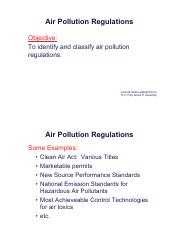 Lecture notes 4; Air quality Regulations (handout)