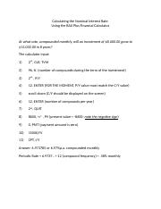 Calculating Nominal Rate  Fin Calculator Steps