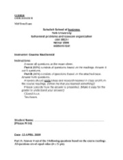 OBIR 3010 - Mid Term Exam Practice [Winter 2009] - Graeme MacDermid