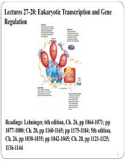 Lectures 27 and 28 Eukaryotic Transcription and Gene Regulation.pdf