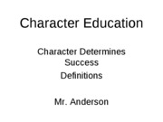 Character Education Definitions