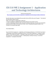 CIS 510 Week 2 Assignment 1 - Application and Technology Architectures - Strayer University NEW