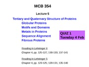 MCB 354 Tertiary and Quaternary Structure of Proteins Lecture