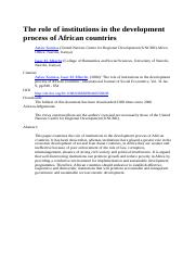 The role of institutions in the development process of    African countries