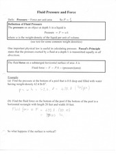 Fluid pressure and force notes