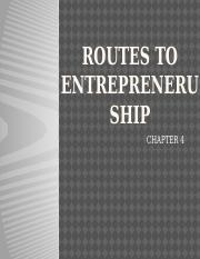 1ROUTES TO ENTREPRENERUSHIP