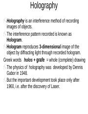 History of Holography Timeline Dr Dennis Gabor signs a copy